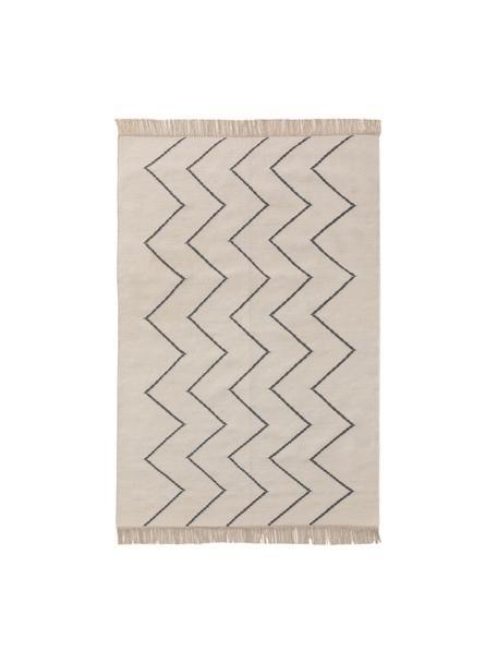 Alfombra kilim artesanal con flecos Vince, 90%lana, 10%algodón Las alfombras de lana se pueden aflojar durante las primeras semanas de uso, la pelusa se reduce con el uso diario, Marfil, gris oscuro, An 80 x L 120 cm (Tamaño XS)