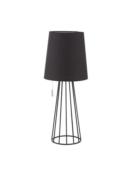 Große Tischlampe Mailand, Lampenfuß: Metall, vermessingt und l, Schwarz, Ø 23 x H 59 cm