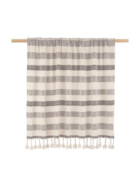 Koc z bawełny Pom Pom, 100% bawełna, Czarny, kremowy, S 130 x D 170 cm
