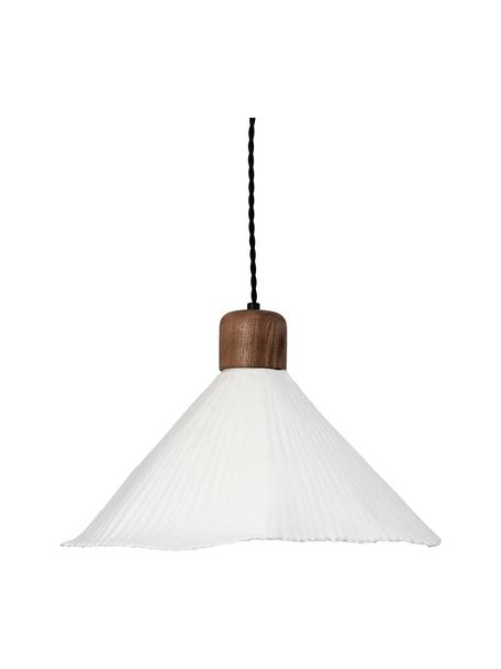 Scandi hanglamp Linnea van papier en hout, Lampenkap: papier, Decoratie: hout, Baldakijn: gecoat metaal, Wit, donkerbruin, Ø 40 x H 26 cm