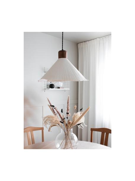 Lampada a sospensione in legno Linnea, Paralume: carta, Baldacchino: metallo rivestito, Bianco, marrone scuro, Ø 40 x Alt. 26 cm