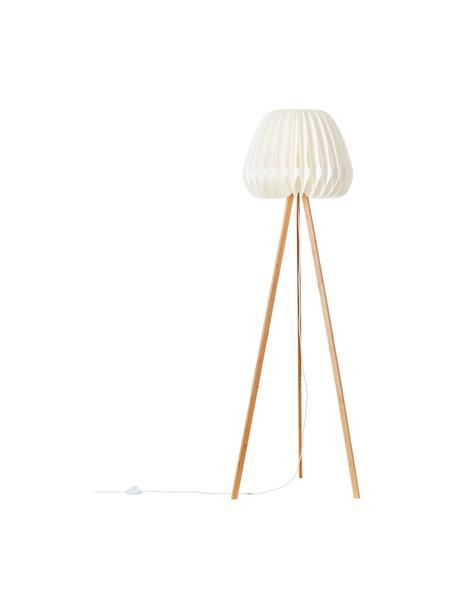 Design driepoot vloerlamp Inna van bamboehout, Lampenkap: kunststof, Lampvoet: bamboe, Wit, bamboekleurig, Ø 62 x H 155 cm