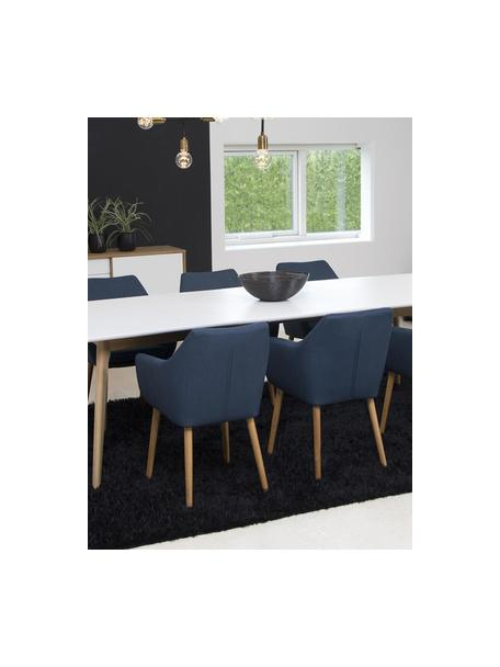 Krzesło z podłokietnikami Nora, Tapicerka: 100%poliester Dzięki tk, Nogi: drewno dębowe, Ciemnyniebieski, drewno dębowe, S 58 x G 58 cm