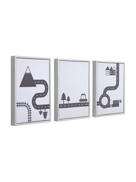 Gerahmtes Digitaldruck-Set Nidi, 3-tlg., Rahmen: Holz, Bild: Canvas, mitteldichte Fase, Weiss, Schwarz, 30 x 42 cm