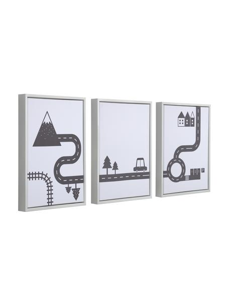 Ingelijste digitale printsset Nidi, 3-delig, Lijst: hout, Afbeelding: canvas, MDF, Wit, zwart, 30 x 42 cm