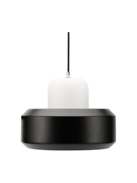 Kleine moderne hanglamp Pretty Treasure, Lampenkap: glas, gecoat metaal, Baldakijn: gecoat metaal, Zwart, wit, Ø 27 x H 22 cm