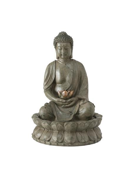 Fontanna ogrodowa Budda, Tworzywo sztuczne, Szarozielony, odcienie miedzi, Ø 31 x W 46 cm