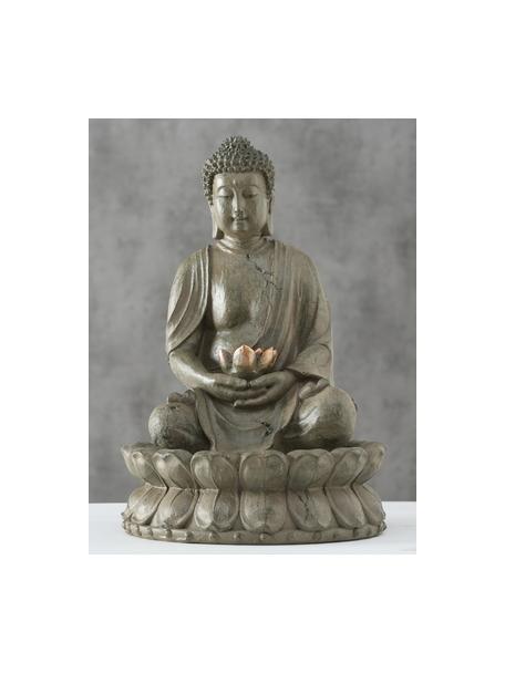 Fuente de jardín Buda, Plástico, Gris verdoso, bronceado, Ø 31 x Al 46 cm