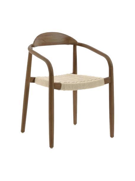 Armlehnstuhl Nina aus Massivholz, Gestell: Massives Eukalyptusholz, Sitzfläche: Polyester, UV-beständig, Braun, Beige, B 56 x T 53 cm