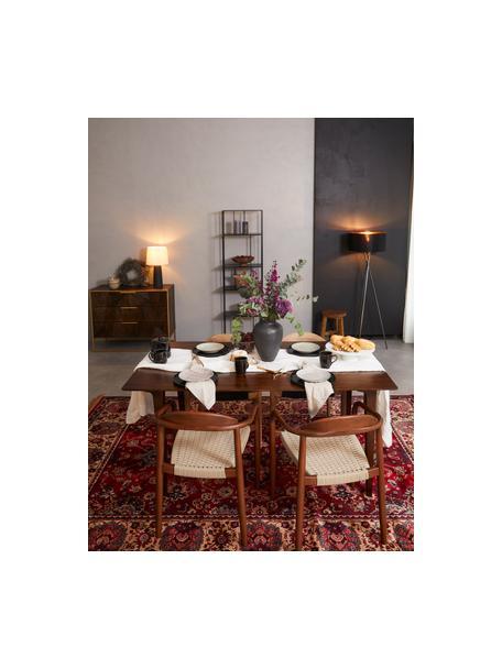 Sedia con braccioli in legno massiccio Nina, Struttura: legno massiccio di eucali, Seduta: poliestere, resistente ai, Marrone, beige, Larg. 56 x Prof. 53 cm