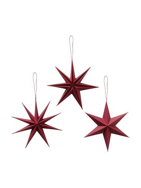 Komplet gwiazd wiszących Mariola, 3 elem., Papier, Czerwony, Ø 20 cm