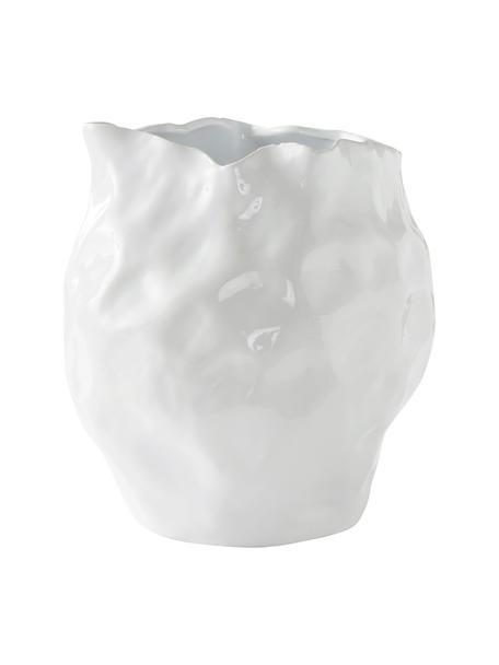 Designvase Bubba, Steingut, Weiß, Ø 27 x H 31 cm