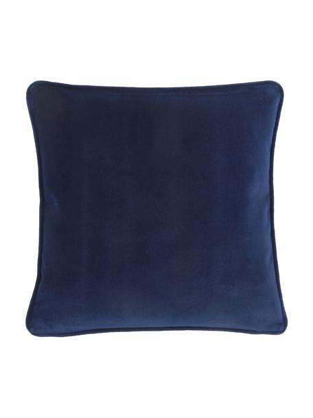 Federa arredo in velluto blu navy Dana, 100% velluto di cotone, Blu marino, Larg. 40 x Lung. 40 cm