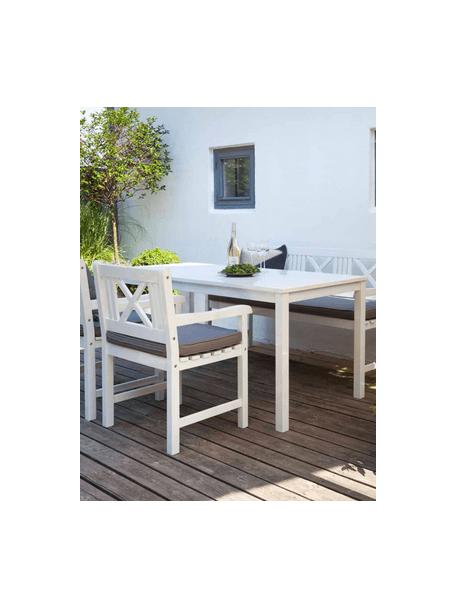 Mesa de comedor para jardínn de madera Rosenborg, Madera de caoba pintada, Blanco, An 165 x Al 75 cm