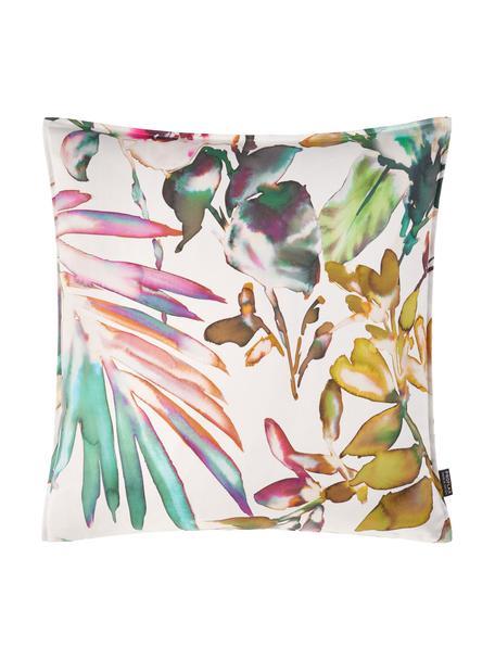 Kissenhülle Juanita mit buntem, tropischen Print, 100% Baumwolle, Weiß, Mehrfarbig, 40 x 40 cm