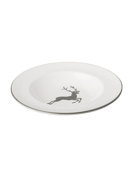 Piatto fondo dipinto a mano Gourmet Grauer Hirsch, Ceramica, Grigio, bianco, Ø 24 cm
