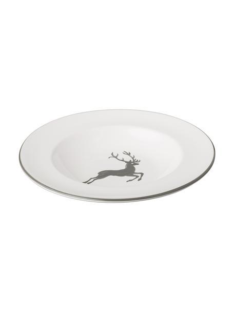 Plato hondo artesanal Gourmet Grauer Hirsch, Cerámica, Gris, blanco, Ø 24 cm