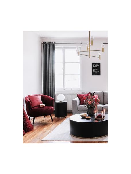 Fluwelen fauteuil Ella, Bekleding: fluweel (polyester), Poten: gelakt metaal, Fluweel donkerrood, B 74 x D 78 cm