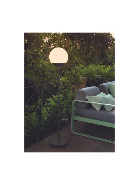 Mobiele dimbare outdoor vloerlamp Mooon, Lampvoet: gelakt aluminium, Lampenkap: polyethyleen, Wit, antraciet, Ø 25 x H 134 cm