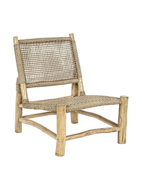 Sillón de madera de teca Lampok, Estructura: teca, Asiento: fibra sintética, Beige, An 62 x Al 79 cm