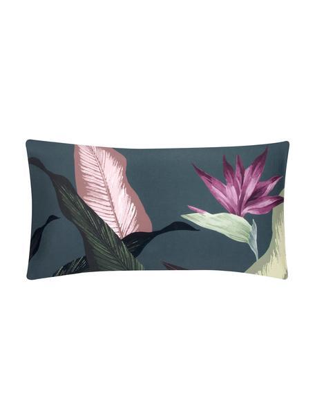 Funda de almohada de satén Flora, 45x85cm, Multicolor, gris oscuro, An 45 x L 85 cm