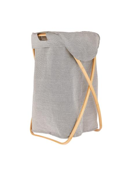 Cesto portabiancheria Marias, Struttura: bambù, Cesto ortabiancheria: grigio chiaro Struttura: beige, Larg. 39 x Alt. 66 cm