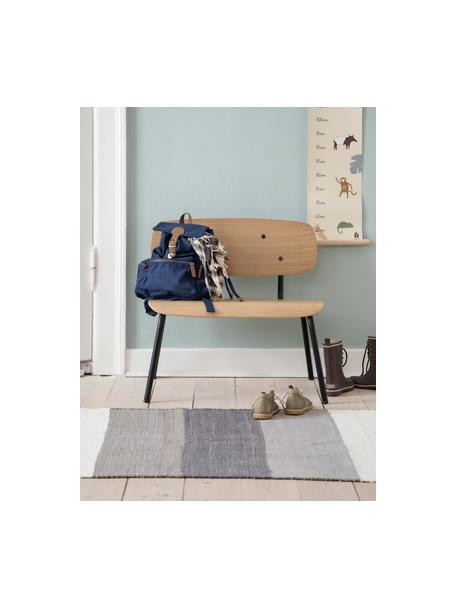 Kinderbank Oakee, Frame: gelakt metaal, Zitvlak: beukenhout met eikenhoutf, Eikenhoutkleurig, 56 x 59 cm