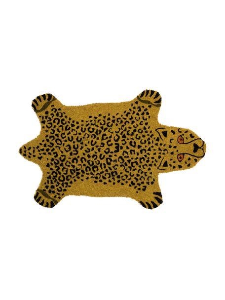 Felpudo Cheetah, Parte superior: fibras de coco, Reverso: PVC, Marrón, negro, An 45 x L 70 cm
