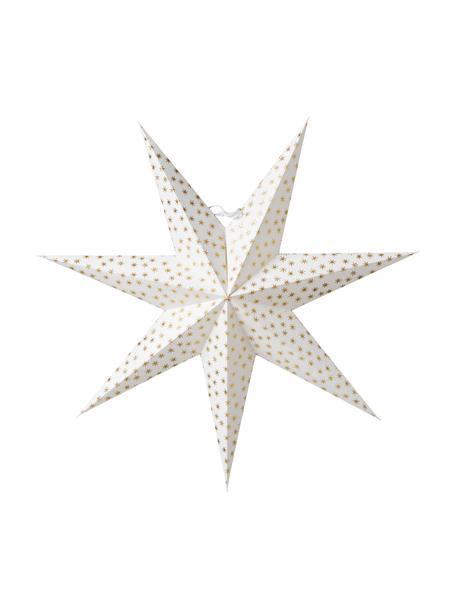 Handgefertigter Weihnachtsstern Asta Ø 60 cm, Papier, Weiß, Goldfarben, Ø 60 cm