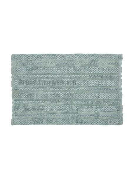 Alfombrilla de baño grande texturizada Nea, 65%chenilla, 35%algodón, Verde menta, An 80 x L 120 cm