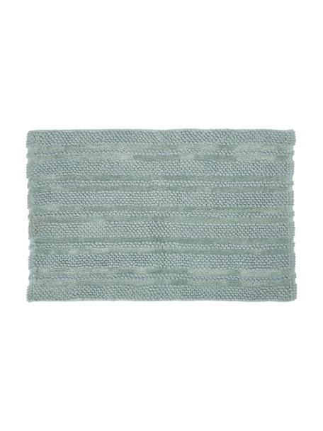 Badmat Nea in mintgroen met hoog-laag-structuur, 65% chenille, 35% katoen, Mintgroen, 80 x 120 cm