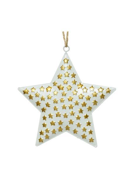Stern Anhänger Million Stars Ø 13 cm, 4 Stück, Metall, Goldfarben, Weiß, 13 x 13 cm