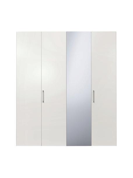 Kleiderschrank Madison in Weiß, 4-türig inkl. Spiegeltür, Korpus: Holzwerkstoffplatten, lac, Mit Spiegeltür, 202 x 230 cm