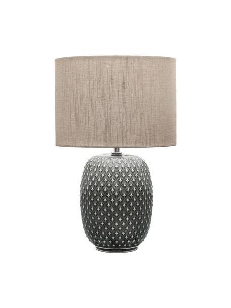 Keramische tafellamp Pretty Classy, Lampenkap: stof, Lampvoet: keramiek, Grijs, beige, Ø 25 x H 40 cm