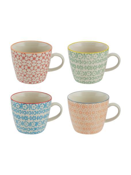Set 4 tazze con motivo piccolo Carla, Gres, Bianco, nero, giallo, rosso, arancione, Ø 10 x Alt. 8 cm
