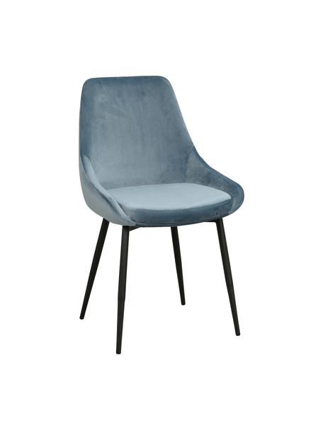Fluwelen stoelen Sierra in blauw, 2 stuks, Bekleding: polyester fluweel, Poten: gelakt metaal, Fluweel blauw, B 49 x D 55 cm