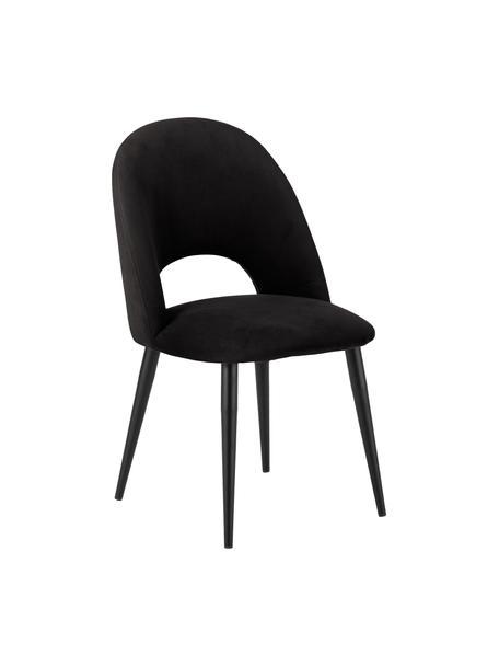 Krzesło tapicerowane z aksamitu Rachel, Tapicerka: aksamit (poliester) Dzięk, Nogi: metal malowany proszkowo, Aksamitny czarny, S 53 x G 57 cm