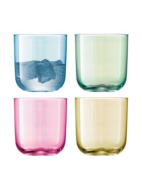 Komplet ręcznie malowanych szklanek do wody Polka, 4 elem., Szkło, Niebieski, zielony, blady różowy, żółty, Ø 9 x W 9 cm