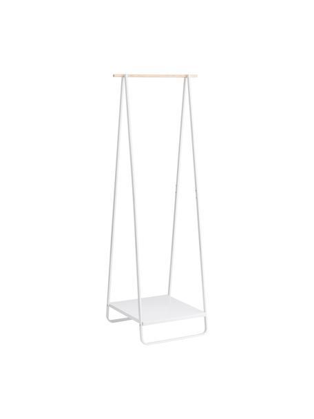 Burro de metal Tower, Estructura: metal con pintura en polv, Barra: madera, Blanco, madera, An 52 x Al 140 cm
