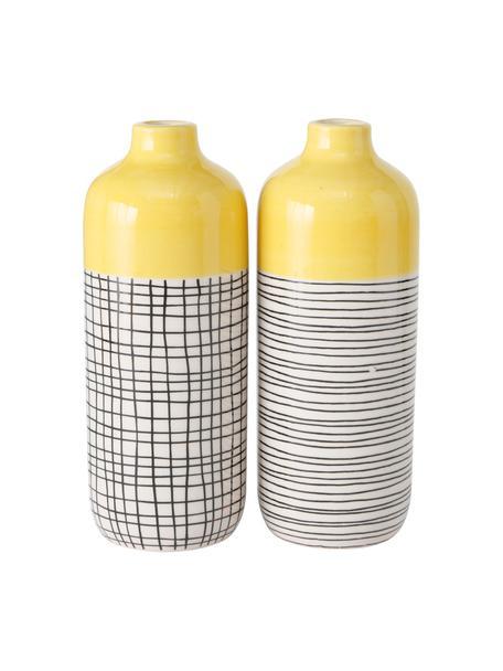 Set 2 vasi di design fatti a mano Sannie, Gres, Multicolore, Ø 7 x Alt. 19 cm