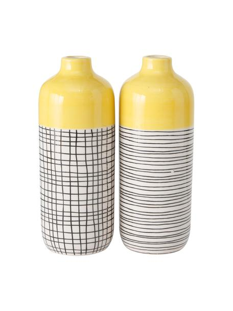 Set 2 vasi in gres fatti a mano Sannie, Gres, Multicolore, Ø 7 x Alt. 19 cm