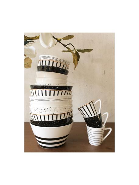 Espressotassen Eris Loft mit Liniendekor, 4 Stück, Porzellan, Weiß, Schwarz, Ø 6 x H 6 cm
