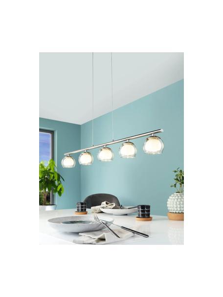 Lámpara de techo grande LED de vidrio Romagnese, Estructura: acero satinado, Cable: plástico, Plateado, transparente, An 90 x Al 110 cm