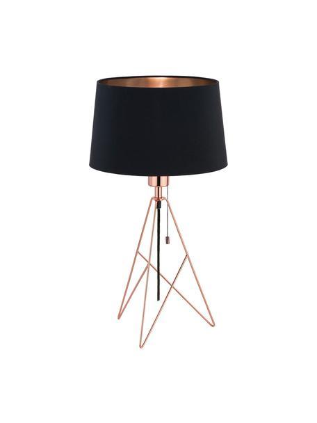 Große Tischlampe Camporale in Kupfer, Lampenfuß: Stahl, lackiert, Schwarz, Kupferfarben, Ø 30 x H 56 cm