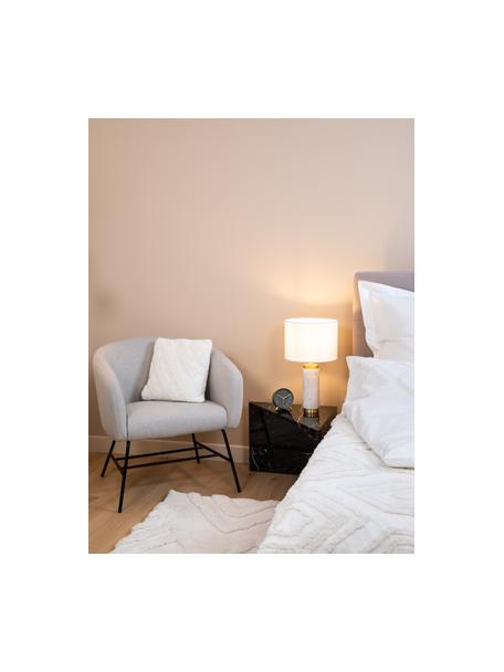 Glam-Tischlampe Miranda mit Marmorfuss, Lampenschirm: Textil, Weiss,Messingfarben, Ø 28 x H 48 cm