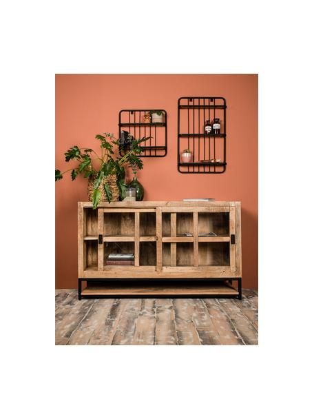 Ripiano a muro stile industriale Hilly, Ripiani: legno di mango, Struttura: metallo verniciato a polv, Marrone, nero, Larg. 50 x Alt. 80 cm