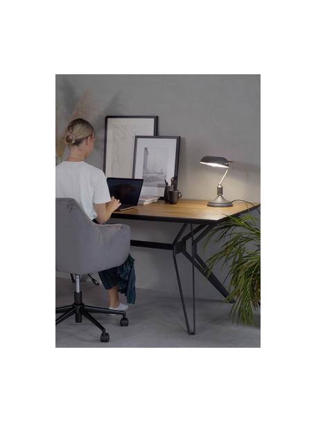 Lámpara de escritorio pequeña de metal Bank, estilo retro, Pantalla: metal recubierto, Estructura: metal recubierto, Cable: plástico, Gris antracita, latón, An 22 x Al 34 cm
