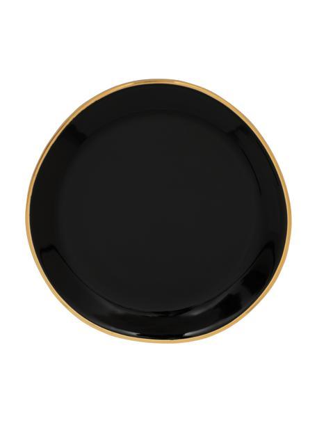 Schoteltjes Good Morning in zwart met goudkleurige rand, Ø 9 cm, 2 stuks, Keramiek, Zwart, goudkleurig, Ø 9 cm