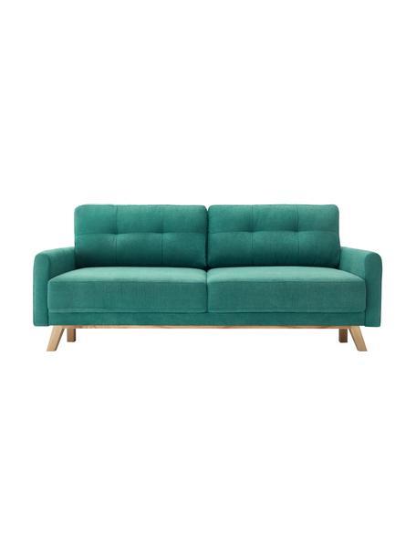 Sofá cama de terciopelo Balio (3-plazas), con espacio de almacenamiento, Tapizado: 100%terciopelo de poliés, Patas: madera, Verde esmeralda, An 216 x F 102 cm
