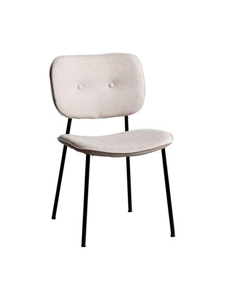 Sedia imbottita Oprah, Rivestimento: 100% poliestere, Gambe: metallo rivestito, Color crema, nero, Larg. 56 x Prof. 52 cm